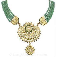 14.50 Carats Rose-Cut Diamond, Emerald and Enamel Mughal Necklace - Antique…