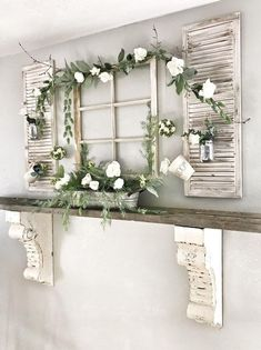 Antique Wood Mantel Shelf Window Frame and Flowers