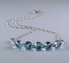 Stunning Blue Topaz Sterling Silver Necklace  by TheSilverBear, $95.00