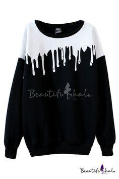 c36d8fb0a8659e Color Block Round Neck Long Sleeve Sweatshirt