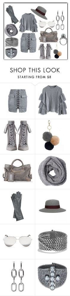 """Gray-ing Big Time..."" by ipekzsuel on Polyvore featuring moda, Chicwish, Zimmermann, Under One Sky, Balenciaga, Mark & Graham, Victoria Beckham, David Yurman, Alexander Wang ve Miadora"