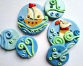 Button Sail the Sea handmade polymer clay buttons  ( 6 )
