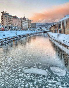Winter in Otaru Canal, Hokkaido, Japan