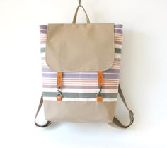 "Pastel stripe canvas Backpack / Laptop / School / Diaper bag / Leather closure, front pockets / 15"", Unique Design of BagyBag. $92.70, via Etsy."