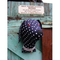 Faux taxidermy , shabby chic..Large dog  trophy head. Fabric animal head. Navy  polkadot  fabric.
