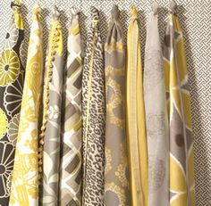 grey yellow curtains | ... grey with soft golds and yellows in our Mellow Yellow Fabric