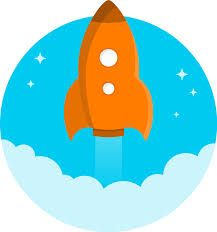Vector graphics of cartoon orange rocket flying up. Rocket in the skies illustration. Space Party, Space Theme, Cartoon Spaceship, Alien Spaceship, Robot, Free Clipart Images, Space Rocket, Boy Cards, Free Cartoons