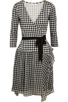 Riviera plaid silk-jersey and chiffon wrap dress #wrapdress #offduty #women #covetme #dianevonfurstenberg