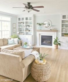 Coastal Familyroom and Fireplace Makeover. Coastal Family Room and Fireplace Makeover Beach Living Room, Living Room Colors, Home Living Room, Living Room Furniture, Living Room Designs, Furniture Decor, Brown Furniture, Cottage Living, Furniture Removal
