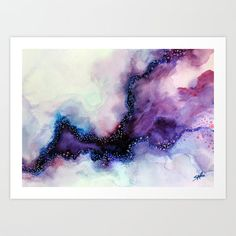 Art Print, Watercolor Painting, Abstract Purple Art, Canvas Print, Beach, Ocean, Nature inspired, Home Decor, Wall Decor. Title Stardust Canvas Paper Quality matte finish paper with subtle canvas-like texture. A low cost alternative to canvas for prints that will be framed or mounted.