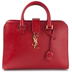 Saint Laurent small 'Cabas Monogram' tote (€2.620) ❤ liked on Polyvore featuring bags, handbags, tote bags, red, yves saint laurent purses, monogram tote, red purse, zip top tote bag and red tote bag