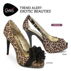 Animal prints & embossed details unleash the wild side of refined for fall. Turn up the heat this season in sexy Carlos by @Carlos Santana leopard print shoes, including the CUPCAKE, FEVER & more must-have styles now at CarlosShoes.com!