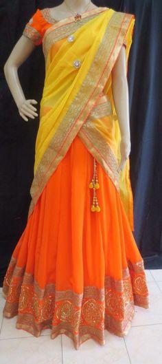 Half saree for young girl Half Saree Lehenga, Kids Lehenga, Saree Dress, Anarkali, Sharara, Half Saree Designs, Blouse Designs, Indian Dresses, Indian Outfits