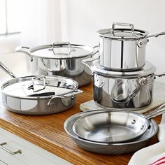 All-Clad Stainless-Steel Cookware Set from Williams Sonoma. Shop more products from Williams Sonoma on Wanelo. Kitchen Items, Kitchen Gadgets, Kitchen Tools, Kitchen Supplies, Kitchen Stuff, Kitchen Appliances, Kitchen Small, Kitchen Dishes, Small Appliances