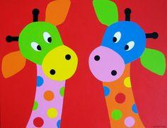 SAMEN Twee giraffenkopjes met rode achtergrond. In alle kleurstellingen te maken.