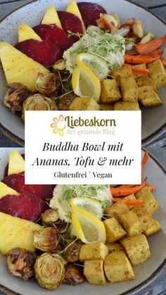 Bowl mit Rote Bete, Ananas & Tofu – Liebeskorn Curry, Tofu, Cobb Salad, Tacos, Mexican, Ethnic Recipes, Pineapple Recipes, Hummus Recipe, Brussels Sprouts
