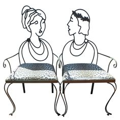Fabulous Wrought Iron Portrait Chairs | From a unique collection of antique and modern armchairs at https://www.1stdibs.com/furniture/seating/armchairs/