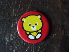 Soviet pin red pinback button with yellow Bear by AtticSpider