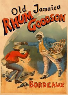 Rhum Goodson 1890 France - Beautiful Vintage Poster Reproductions. French wine and spirits poster features a man breaking a bottle over another mans head with broken bottles all around him. Giclee Advertising Prints Posters