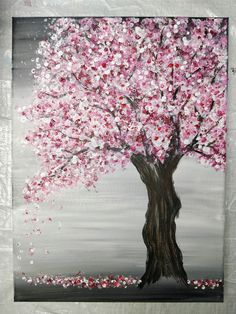 Painting a Cherry Blossom Tree with Acrylics and Cotton Swabs! Painting a Cherry Blossom Tree with Acrylics and Cotton Swabs! Simple Canvas Paintings, Small Canvas Art, Diy Canvas Art, Easy Paintings, Painting Trees On Canvas, Tree Painting Easy, Tree Paintings, Knife Painting, Matte Painting