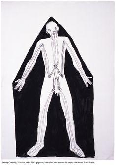Anthony Gormley - MANSION, 1982 Black pigment, oil, charcoal on paper 84 x 60 cm Antony Gormley Sculptures, Black Pigment, Art For Art Sake, Public Art, Contemporary Art, Sketches, Drawings, Illustration, Artwork