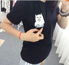 Funny Middle Finger Cat Shirt for Women