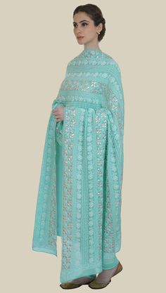 Limpet Shell Pure Georgette Chikankari and Gota Patti Work Dupatta With Suit