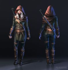 The Witcher 3: Ciri FanArt by wwysocki female assassin rouge thief sword hood hooded cloak leather armor clothes clothing fashion player character npc | Create your own roleplaying game material w/ RPG Bard: www.rpgbard.com | Writing inspiration for Dungeons and Dragons DND D&D Pathfinder PFRPG Warhammer 40k Star Wars Shadowrun Call of Cthulhu Lord of the Rings LoTR + d20 fantasy science fiction scifi horror design | Not Trusty Sword art: click artwork for source: