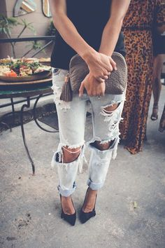 Denim + Lace :: Boho Style :: Festival :: Shorts + Cardigans :: Jackets :: Ripped Jeans :: Distressed + Tan :: Free your Wild :: See more Untamed Denim Style Inspiration @untamedorganica