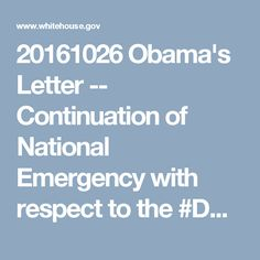 20161026 Obama's Letter -- Continuation of National Emergency with respect to the #DRC