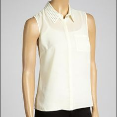 """Selling this """"Cream Studded Collared Top - NWOT"""" in my Poshmark closet! My username is: walshk2. #shopmycloset #poshmark #fashion #shopping #style #forsale #Tops"""