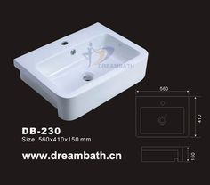 Product Name:Vessel Lavatory  Model No.: DB-230  Dimension: 560X410X150mm  (1 inch = 25.4 mm)  Volume: 0.046CBM  Gross Weight: 18KGS  (1 KG ≈ 2.2 LBS) Lavatory shape: Rectangular