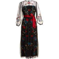 REDValentino Floral-embroidered sheer tulle dress (68.853.780 VND) ❤ liked on Polyvore featuring dresses, black, polka dot dress, tulle dresses, see-through dresses, flower embroidered dress and floral embroidered dress