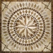 Del Sol Medallion 36 in. x 36 in. Travertine Floor and Wall Tile, Brown