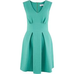 Closet V Neck Waffle Textured Skater Dress ($81) ❤ liked on Polyvore featuring dresses, mint, women, mint green skater dress, v neck fit and flare dress, skater dress, blue party dress and pleated dress