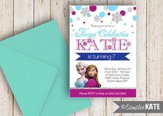 FROZEN Birthday Party Invitation Printable - Anna & Elsa - Snow - snowflakes - silver glitter - sparkly - party decoration ideas - Blue Purple Aqua White - Girls Bday