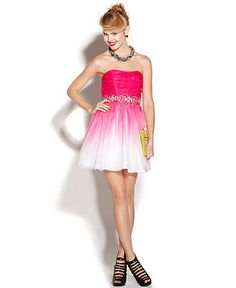 B Darlin Juniors Dress Strapless Ombre A-Line. Reminds me of a flower