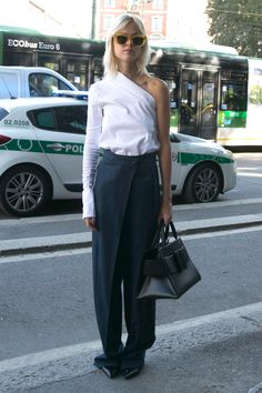 One sleeve white shirt & wrap wide-leg trousers | @styleminimalism