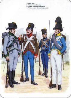 Cacciatore e fuciliere di un rgt. austriaco, fuciliere ungherese degli insorti e fuciliere della legione austro-germanica