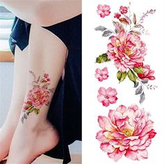 £1.59 GBP - 1 Sheet Waterproof Temporary Tattoo Sticker Watercolor Peony Diy Arm Decals #ebay #Fashion