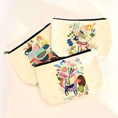 Pochette Colorée 100% coton naturel zippée Trousse maquillage bijoux crayons voyage accessoires