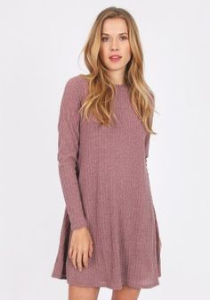 Cute Dresses - Southwest Roads Ribbed Dress In Dusty Rose