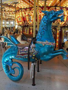 Blue Sea Dragon (Hippocampus) on the Roger Williams Park Carousel Providence, Rhode Island