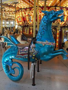 Blue Sea Dragon (Hippocampus) on the Roger Williams Park Carousel Providence, Rhode Island
