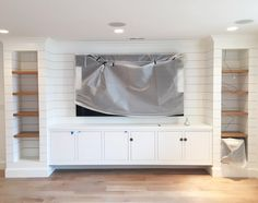 Living room-entertainment center We love shiplap and we love built-ins. Loving the basement progress at our with and Floating Cabinets, Built In Cabinets, Floating Media Cabinet, White Media Cabinet, Built In Tv Cabinet, Cabinet Doors, Living Tv, Home Living Room, Living Room Built Ins