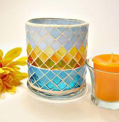 Stained glass mosaic votive candle holder aqua yellow orange via Etsy