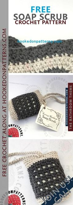 Free crochet bathroom set CAL from Hooked On Patterns- Soap scrub Bag Pattern Free, Pouch Pattern, Crochet Gifts, Free Crochet, Crochet Bags, Crochet Designs, Afghan Patterns, Crochet Ideas, Soaps
