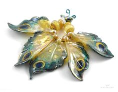 Lampwork butterfly wing beads by Kim Snider 2016
