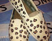 $94 Black Glitter Cheetah Print Custom TOMS Shoes