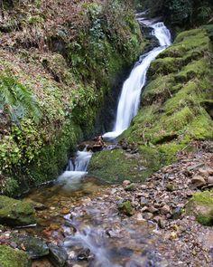 Waterfall at Glengoyne distillery in Scotland